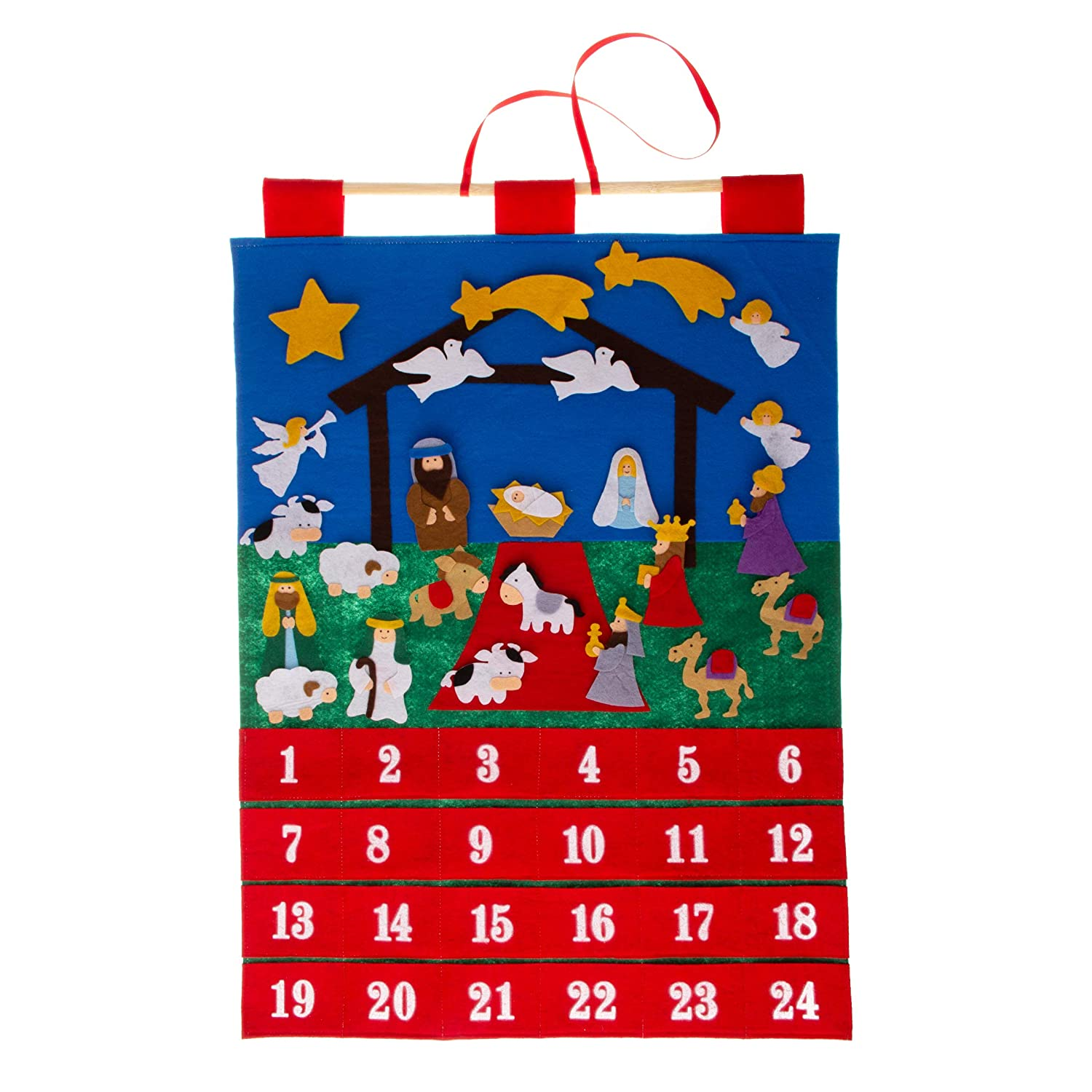 Good Ruby Advent Calendar for Kids, Nativity Christmas Calendars, Velcro and Felt Hanging Wall Calendar (Nativity)