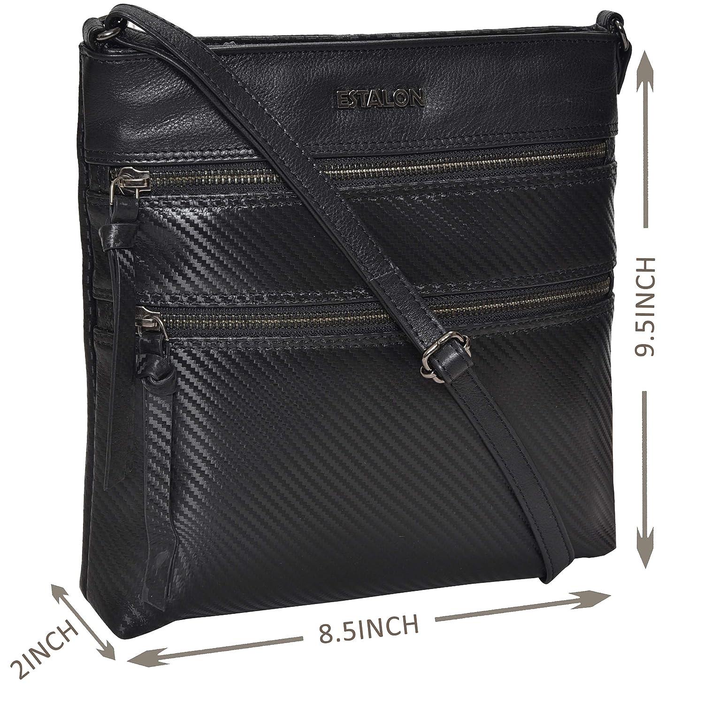 23d0c4b30a12 Leather Crossbody Purse for Women- Premium Crossover Cross Body Bag Over  the Shoulder Luxury Womens Purses and Handbags (01 Black Carbon FIbre)   Handbags  ...