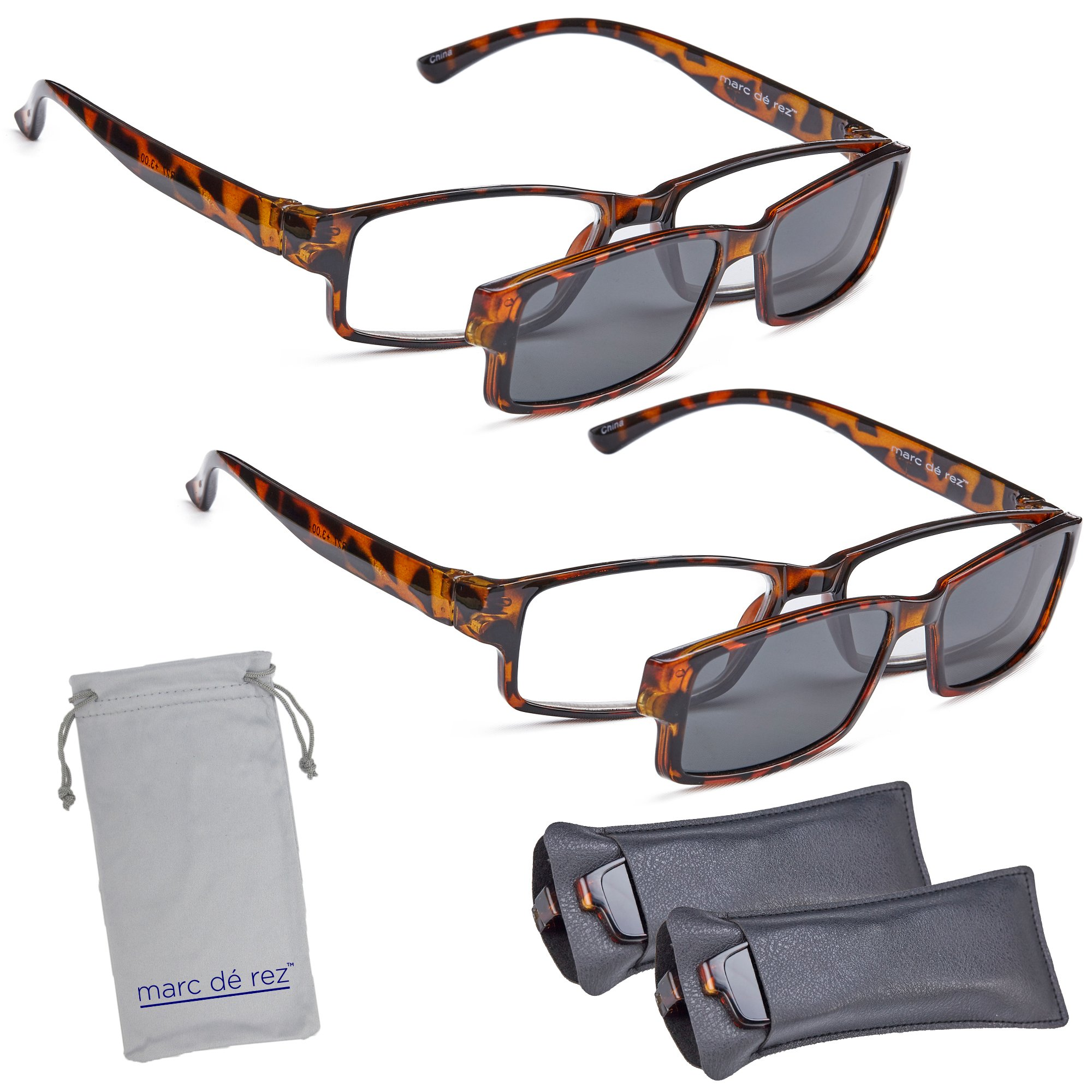 Marc De Rez Computer Reading Glasses With Clip On Sunglasses - 2 Pack - Anti Blue Light Prescription Readers, Magnetic Sun Shades and Pouch - UVC, UVB and UVA Protection - Tortoise, 2.50 by Marc De Rez