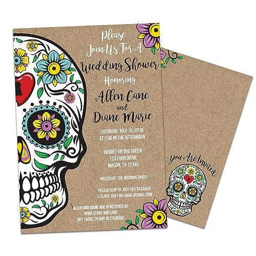 sugar skull bridal shower invitations kraft floral wedding shower invite