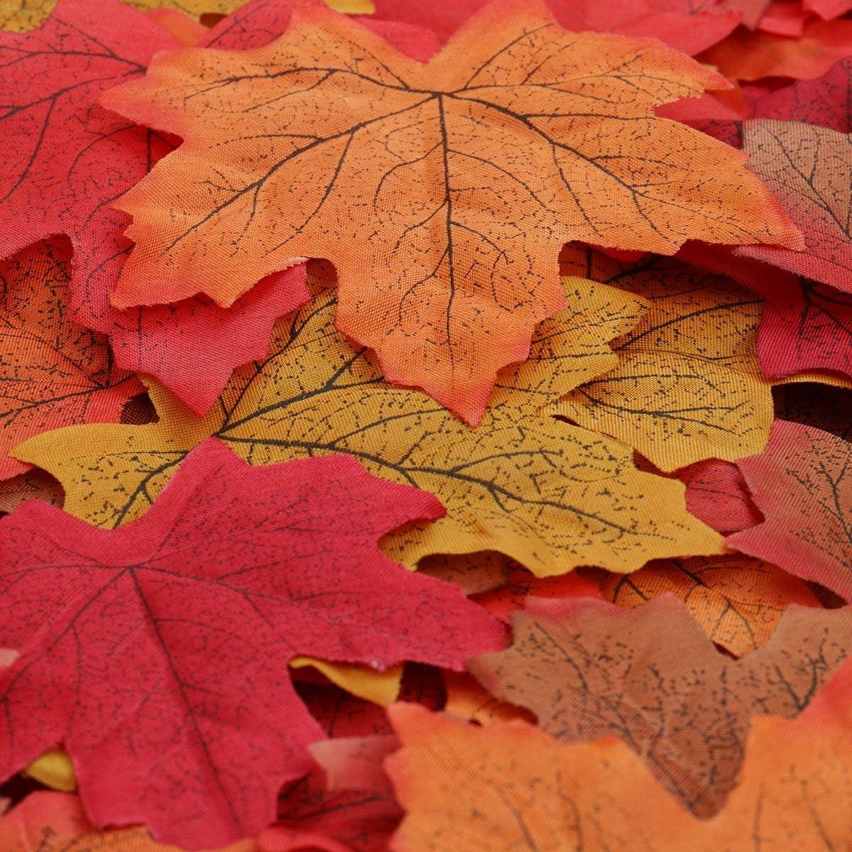 100 Ahorn Laub Blätter Blatt 8x8cm Künstliche Pflanzen Blumen Herbst Deko Streu