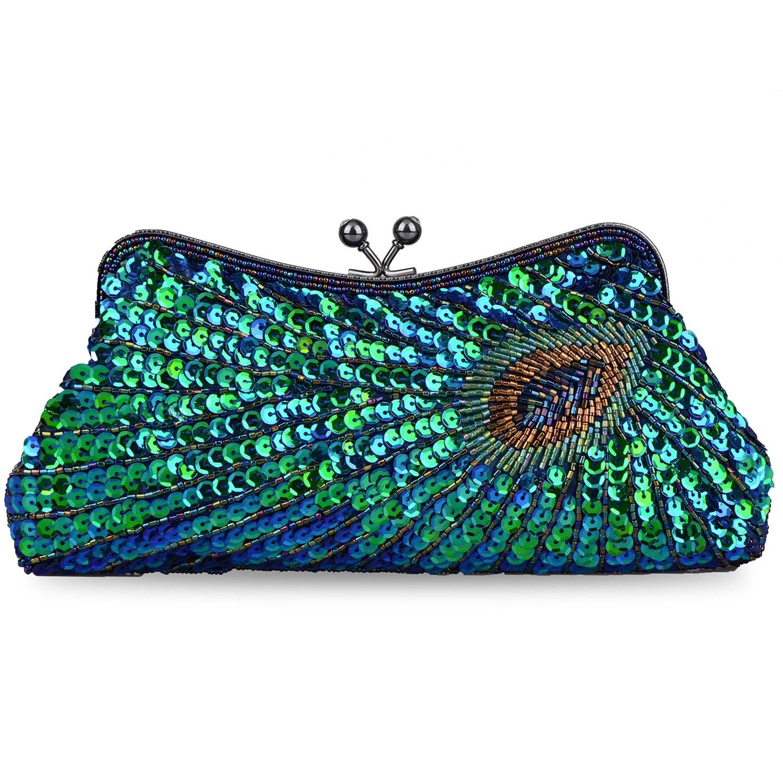 Kaever Women's Vintage Handbag Kiss Lock Sequin Clutch Purse Peacock Clutch Bag(Peacock Blue)
