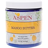 Mango Butter Pure Raw Unrefined - 16 Oz Jar - All Natural Skin Moisturizer with Intensive Healing Properties - Unscented - Use for Body Butter, Lotions, Cream, Hair Products - Aspen Naturals Brand