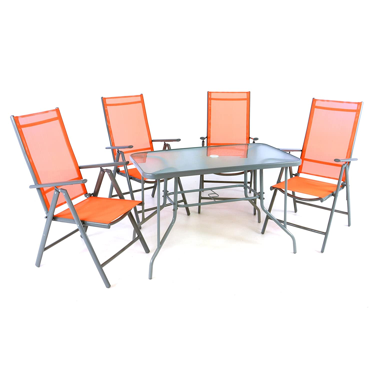 5er set sitzgarnitur sitzgruppe gartengarnitur glastisch eckig orange balkon glastisch 1 tisch 4. Black Bedroom Furniture Sets. Home Design Ideas