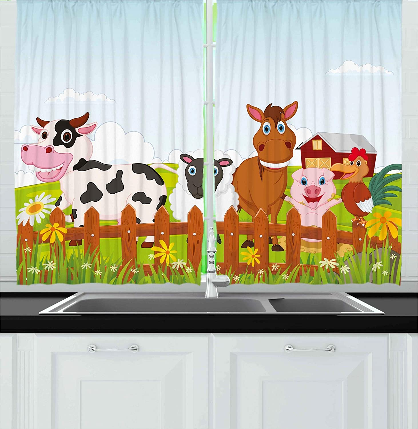 Ambesonne Animal Kitchen Curtains by, Cute Farm Creatures with Cow Horse Goat Pig and Chicken by the Fences Kids Cartoon, Window Drapes 2 Panels Set for Kitchen Cafe, 55W X 39L Inches, Multicolor
