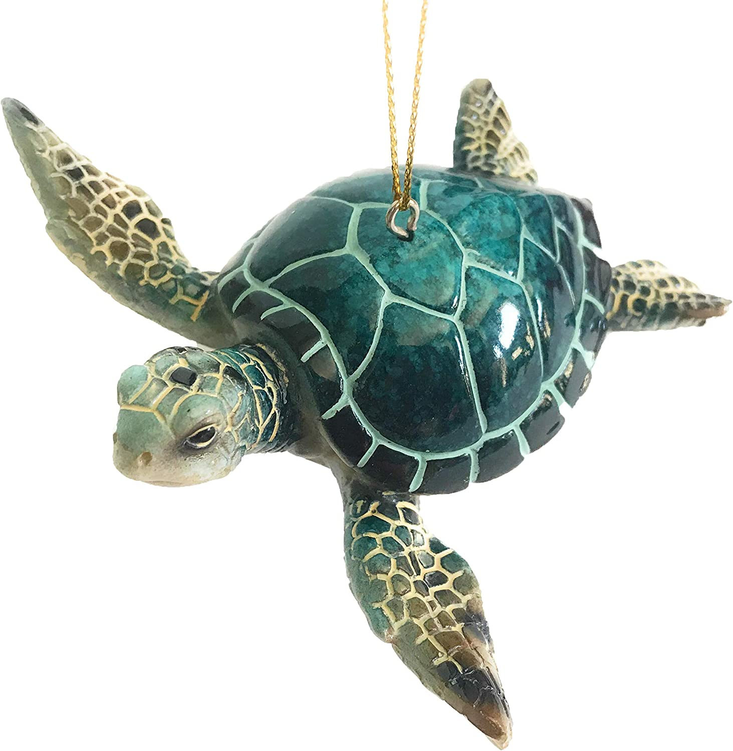 Rengöra Christmas Ornaments - Home Decor - Hand-Painted Blue Sea Turtle - Best for Tree Hanging, Bathroom Decorations, Stocking Stuffers, Scuba Lovers and Ocean Enthusiasts