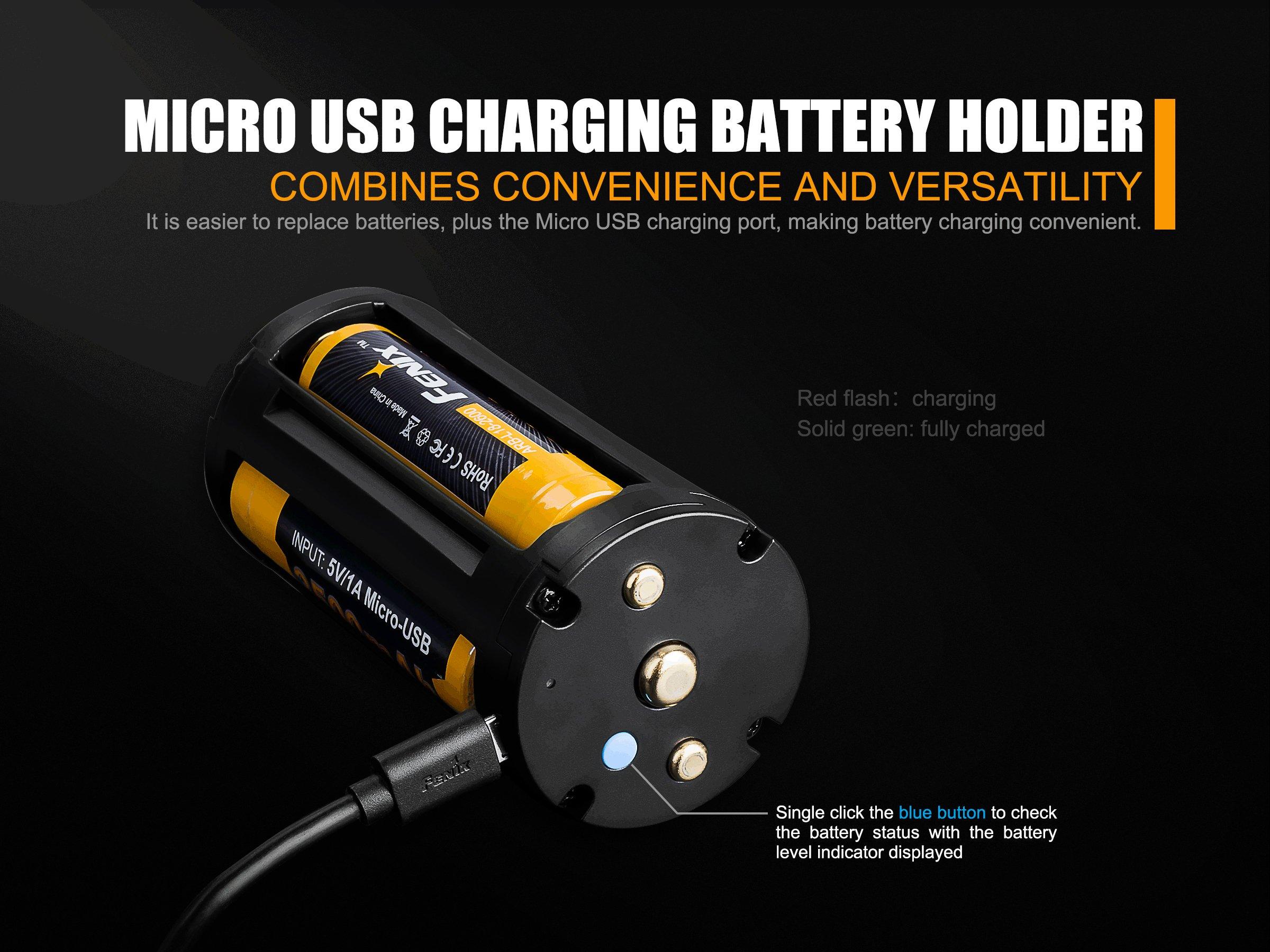 Fenix TK75 2018 5100 Lumens High-Performance Long-Throw Micro-USB Rechargeable Flashlight, 4x 3500mAh 18650 Rechargeable Batteries, 2x Lumen Tactical Battery Organizers by Fenix (Image #6)