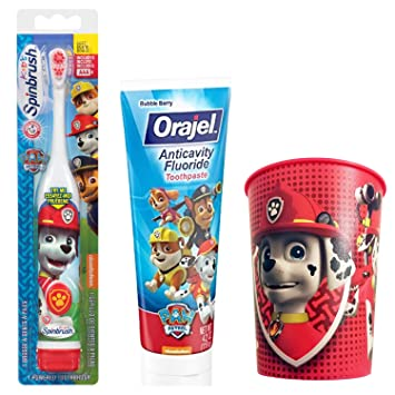 Paw Patrol Marshall Toothbrush & Toothpaste Bundle; 3 Items: Spinbrush Toothbrush, Orajel Bubble