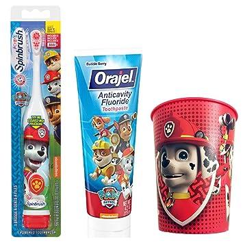 Paw Patrol Marshall Toothbrush & Toothpaste Bundle; 3 Items: Spinbrush Toothbrush, Orajel Bubble