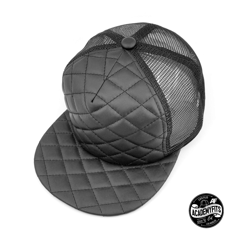 42372a894 AcademyFits Quality 5 Panel High Crown Foam Quilted Trucker Mesh Snapback  Adjustable Fit Men Women Unisex Flat Visor Baseball Hat Cap (Black) at  Amazon ...