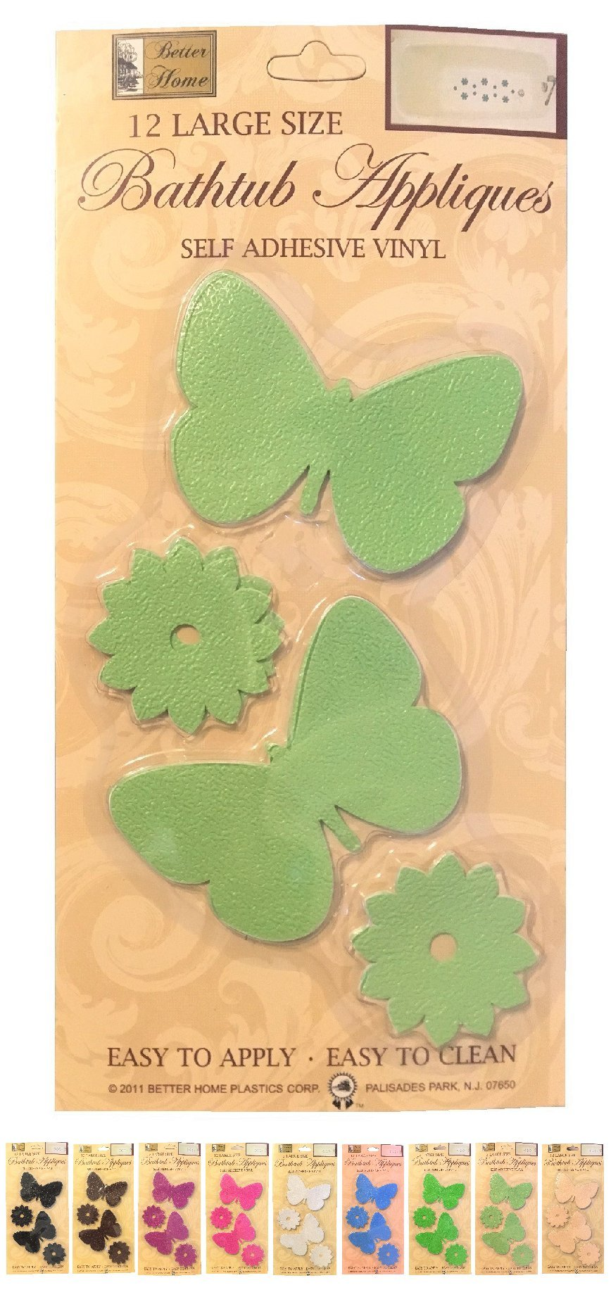 Better Home Plastic Corp 12 Butterfly Shaped Bathtub/Shower Appliques Safety Non Slip Treads, Decorative Color Selection (Light Green)