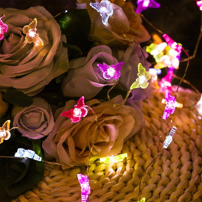 Mariposa 10 Pies Guirnalda de Luces 40 LEDs Tem/ática de Playa Verano Estilo Mexicano//Mediterr/áneo Alimentada por Bater/ía con 12 Modos Contro Remoto y Temporizador para Ni/ñas Ni/ños