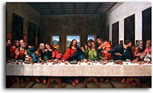 """Niwo Art (TM - The Last Supper, by Leonardo Davinci, Oil Painting Reproduction - Giclee Wall Art for Home Decor, Gallery Wrapped, Stretched, Framed Ready to Hang (24""""x12""""x3/4"""")"""