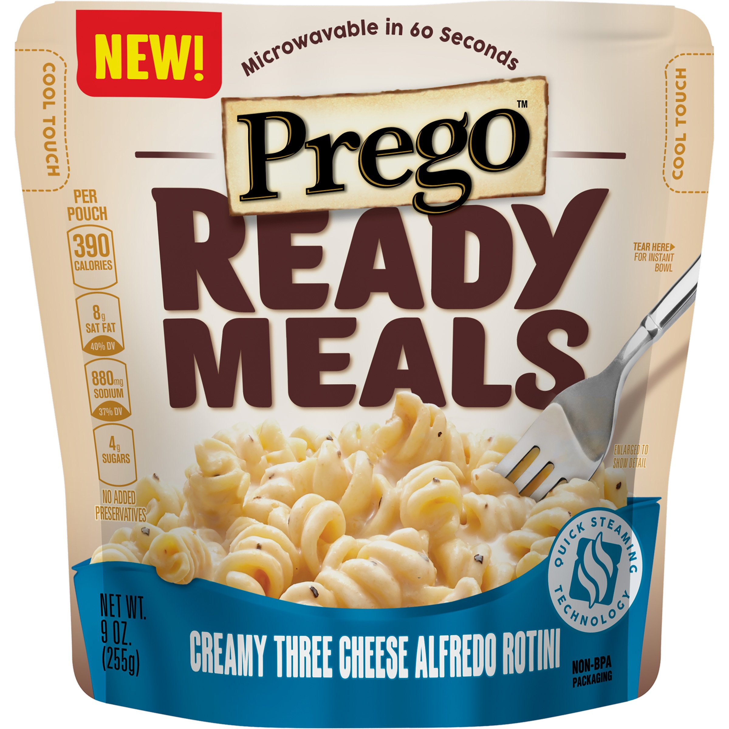 Prego Ready Meals, Creamy Three Cheese Alfredo Rotini, 9 oz (Pack of 6) by Prego
