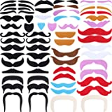 Tatuo 68 Pieces Fake Mustaches Eyebrow Beard Self Adhesive Novelty Costume Party Supplies for Halloween and Role-Playing