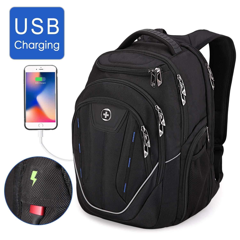 Swissdigital Water-Resistant Large Backpack-TSA Friendly Business Laptop Backpack USB Charging Port Bag for Men with RFID Protection Big Travel Backpack, Fits 15.6 in Laptops School Bookbag by Swissdigital