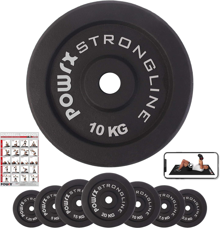 Pesas de disco en set de 2 o 4, pesas de hierro fundido de 5 - 40 kg para mancuernas cortas y largas, 30 mm, 2 x 2,5 kg: Amazon.es: Deportes y aire libre