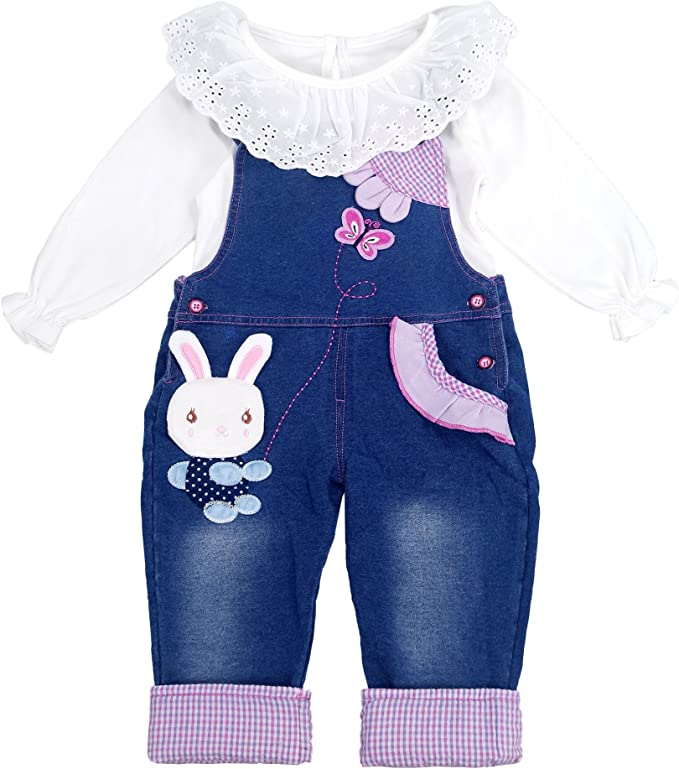 Chumhey Baby /& Little Girls Blue Knitted Denim Overalls Pant Sets Bunny Decor