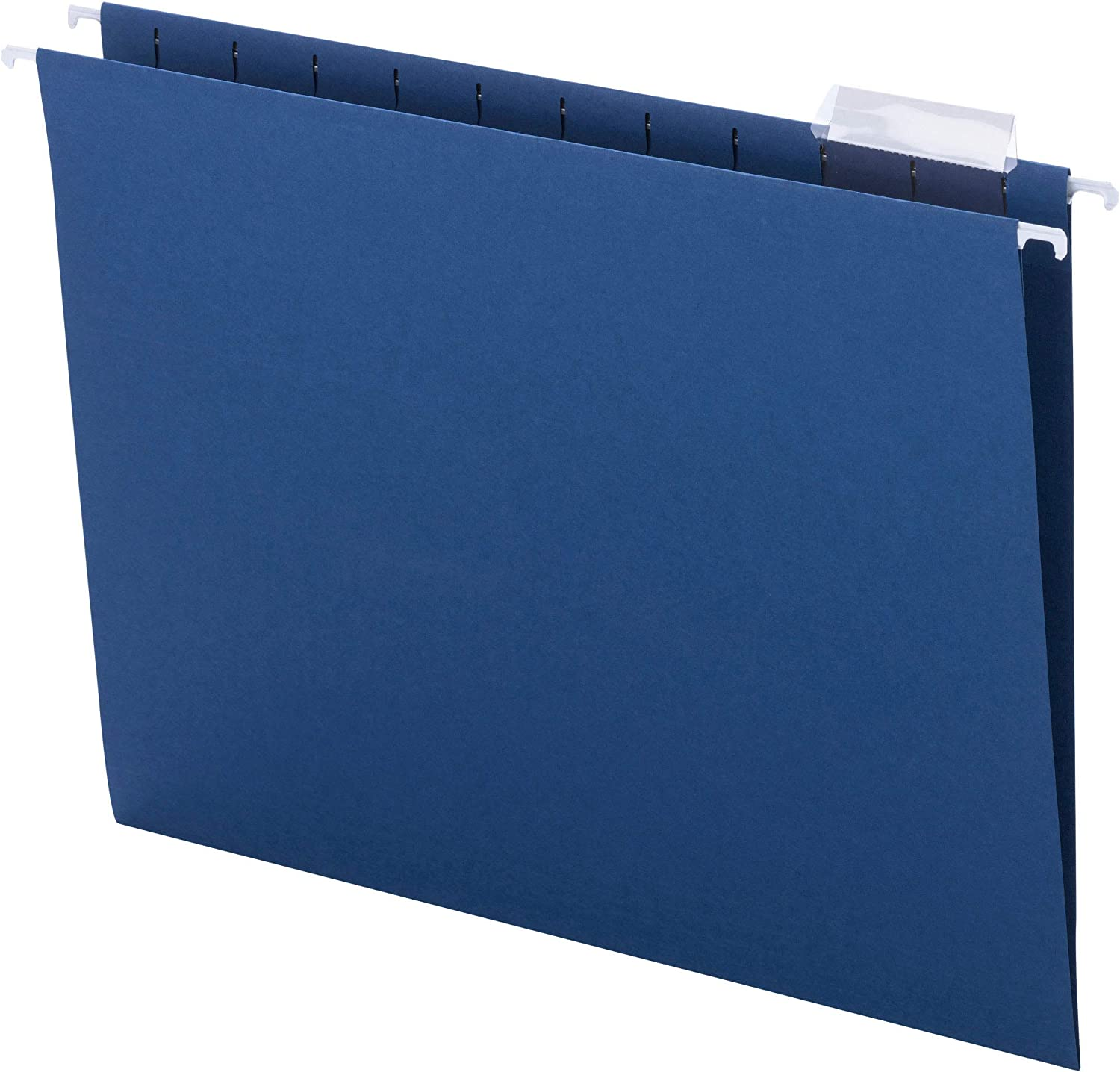 Smead Colored Hanging File Folder with Tab, 1/5-Cut Adjustable Tab, Letter Size, Navy, 25 per Box (64057)