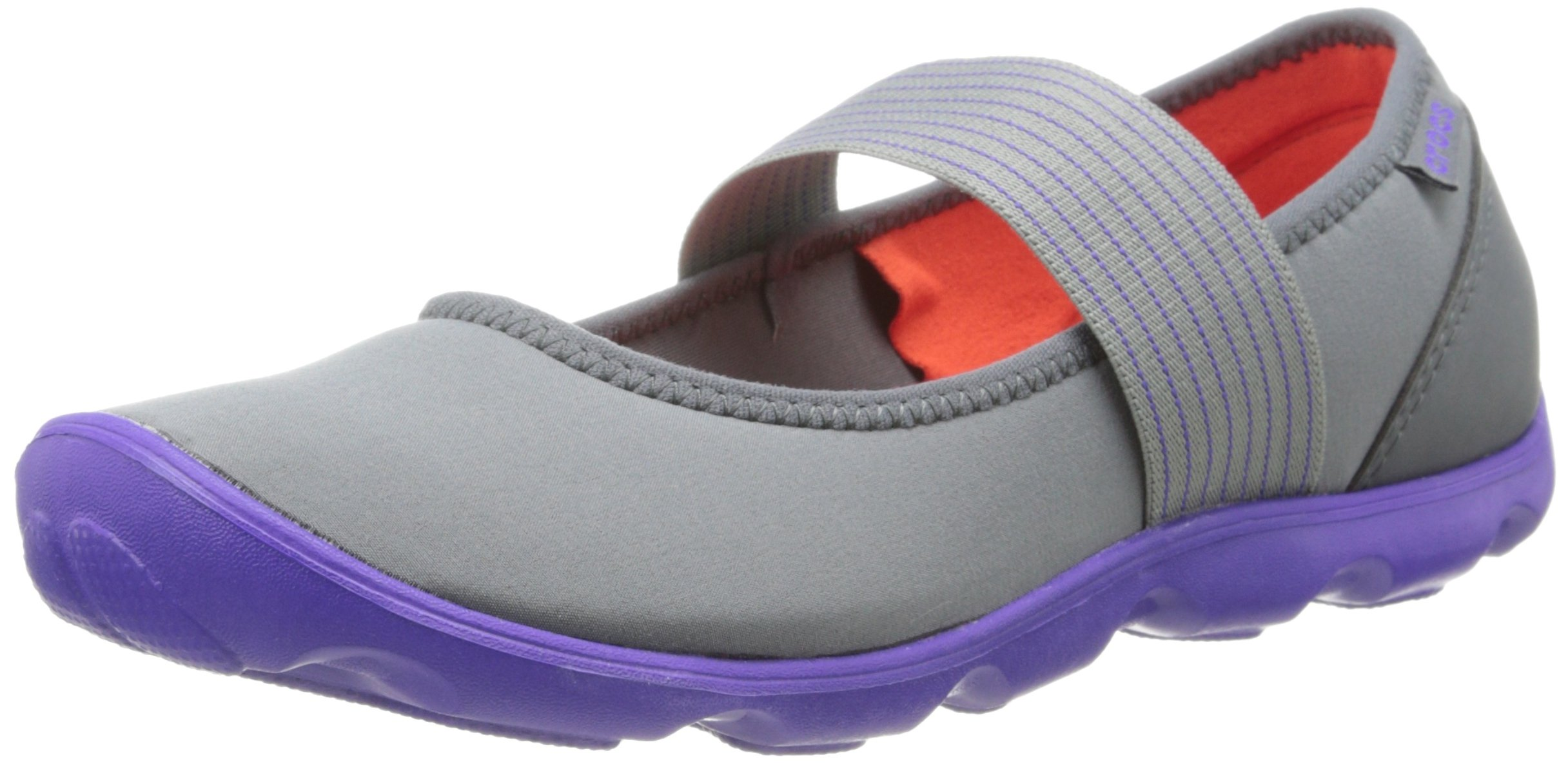 crocs Women's 16025 Duet Busy Day Mary Jane Flat,Graphite/Ultraviolet,5 M US