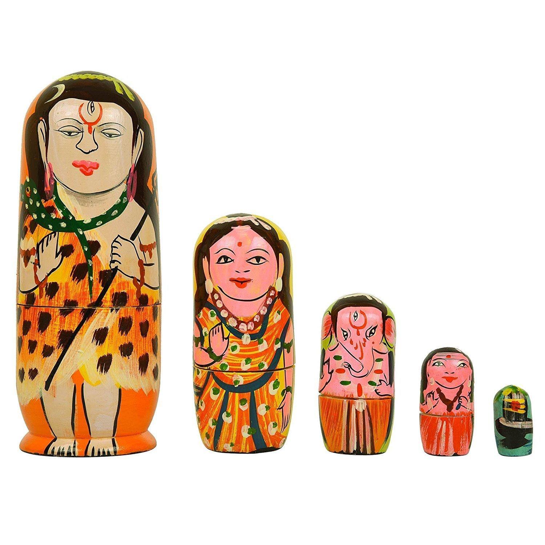 Poupées gigognes Lot de 5piece Main Peinture religieuse Shiva Famille |parvati| |ganesha| |kartikeya (Subramanya) | | Surin Lingam|wooden spirituel Poupées indien Dieu Meilleur et Parfait cadeaux idées pour adultes NESTING DOLLS