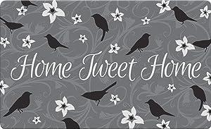 Toland Home Garden Tweet Home Gray 18 x 30 Inch Decorative Bird Floor Mat Flower Doormat