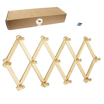 Amapon - Perchero de pared expandible de madera con 13 ...