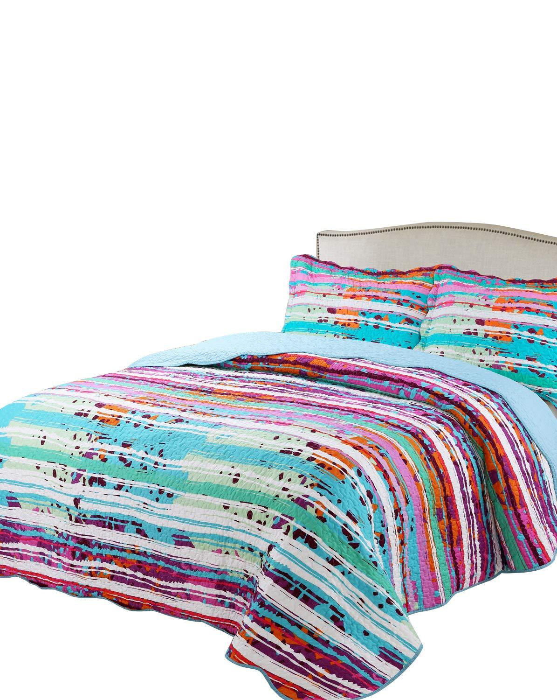 "vivinna home textile Printing Damask Quilt Set Queen Size Light Blue Danube (Size:90""x90"") -3pcs Prewashed Coverlet Set-Lightweight Soft Microfiber"