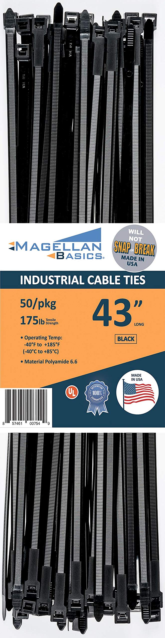 50 Pack Cable Zip Ties Heavy Duty Made in The USA 43 inch, Black