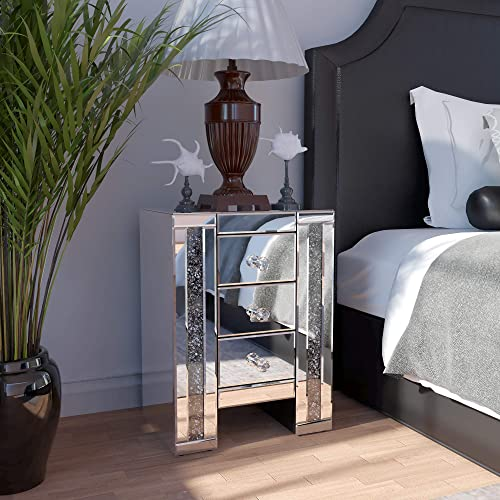 JAXPETY Sparkly Mirrored Crushed Crystal 3 Drawer Nightstand Bedside Table, Silver