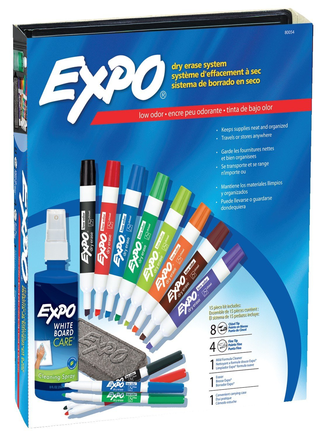 EXPO Low-Odor Dry Erase Markers Chisel Tip Assorted Colors 15-Piece Set