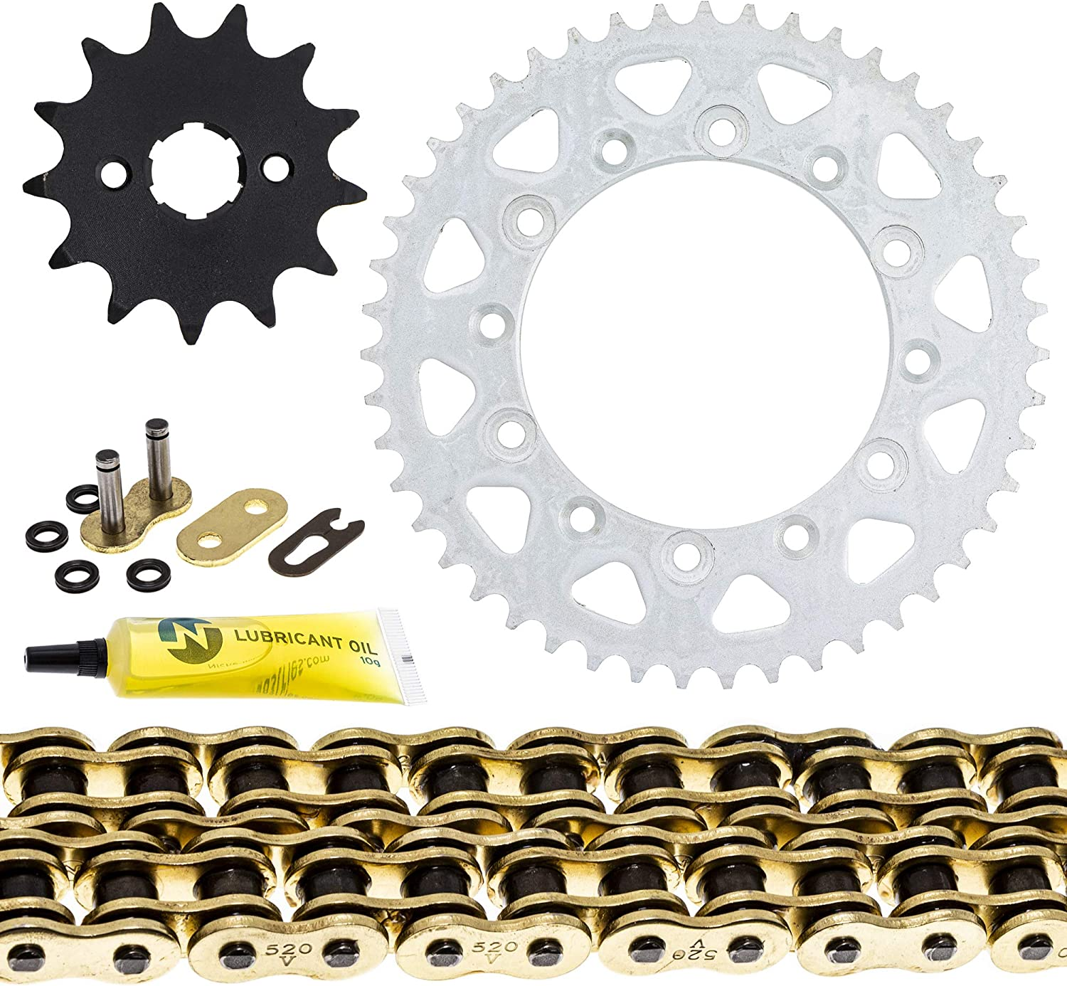 NICHE Drive Sprocket Chain Combo for Kawasaki KDX200 Front 13 Rear 47 Tooth 520V O-Ring 110 Links