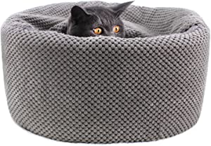 Winsterch Washable Warming Cat Bed House, Round Soft Cat Beds,Pet Sofa Kitten Bed, Small Cat Pet Beds