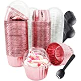 Cupcake Liners with Dome Lids 100Pack,Free-Air Foil Baking Cups,Disposable Muffin Tin Cupcake Wrappers for Individual Bakery