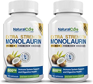 Natural Cure Labs Extra Strength Monolaurin 800mg - 2 Pack, 200 Capsules
