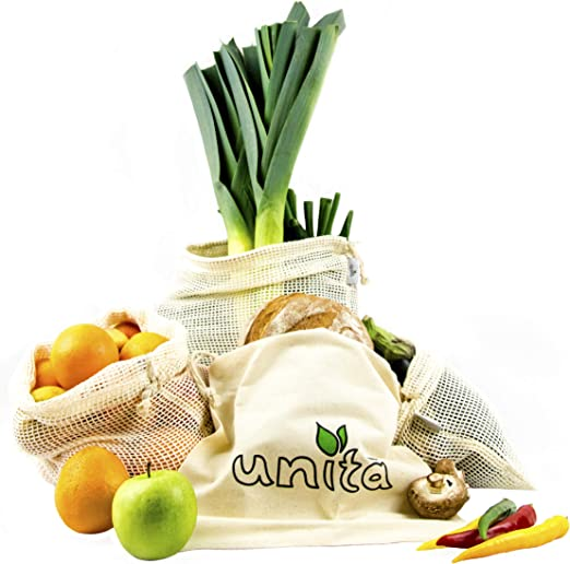 Unita - Bolsas de algodón ecológicas para Frutas y Verduras, Juego de 4 Unidades, Incluye Bolsa para