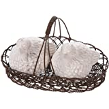 Creative Co-Op Dolomite Bird Salt and Pepper Shakers in Wire Basket