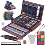 143 Piece Deluxe Art Set, Art Supplies in Portable Wooden Case-Painting & Drawing Kit with Crayons, Oil Pastels, Colored…