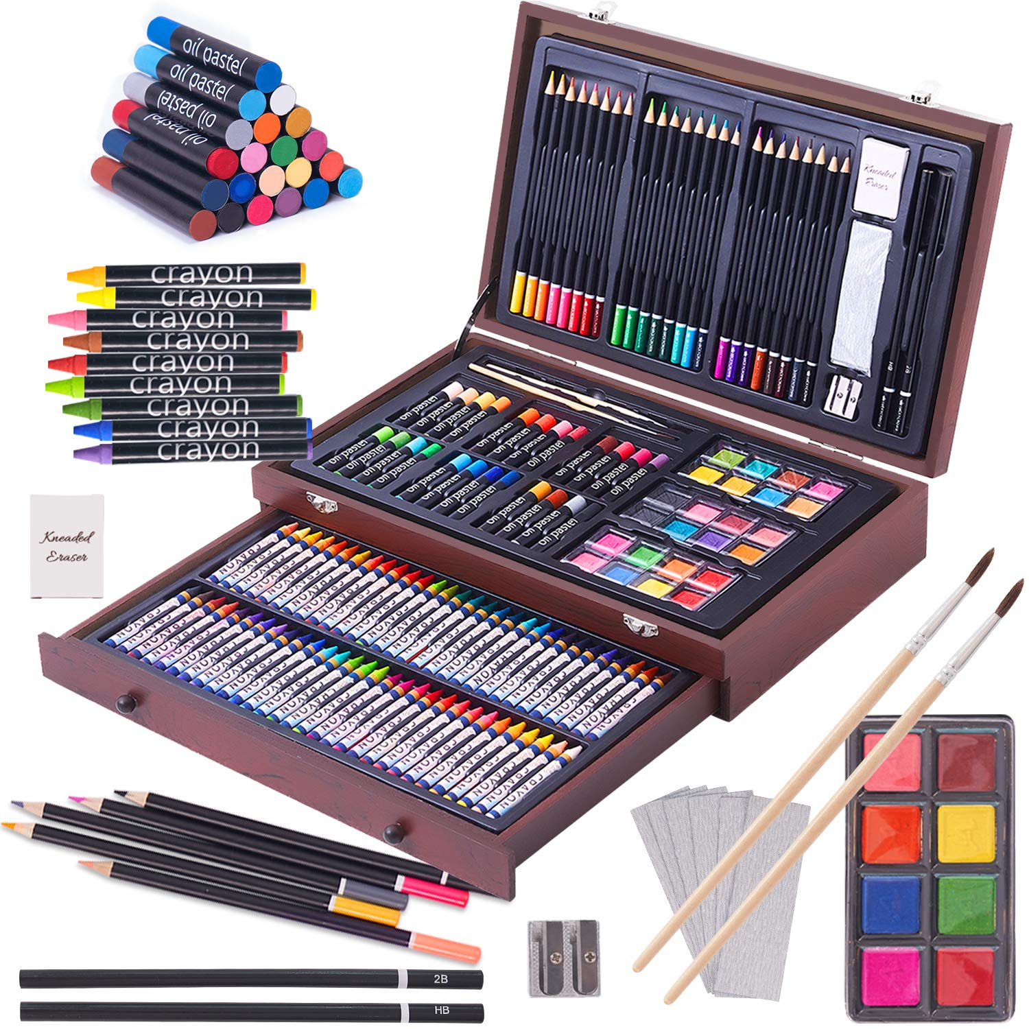 143 Piece Deluxe Art Set, Paint Set in Portable Wooden Case,Professional Art Kit,Art Supplies for Adults,Teens and Artist, Painting, Drawing & Art Supplies