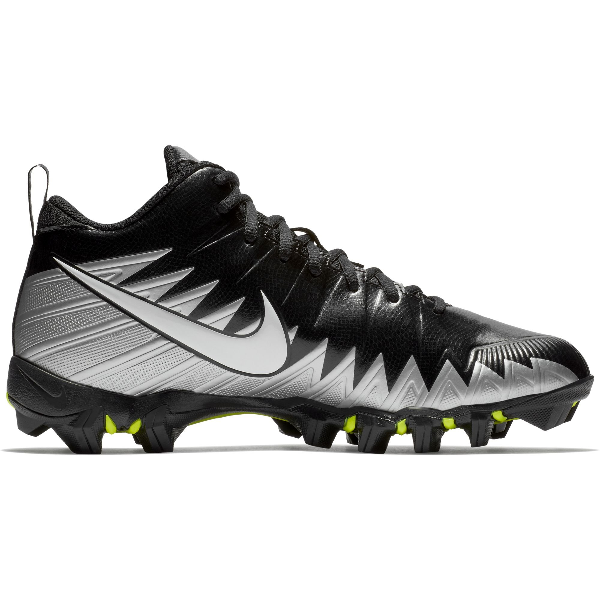 NIKE Men's Alpha Menace Shark Wide Football Cleat Black/Metallic Silver Size 9 M US by NIKE