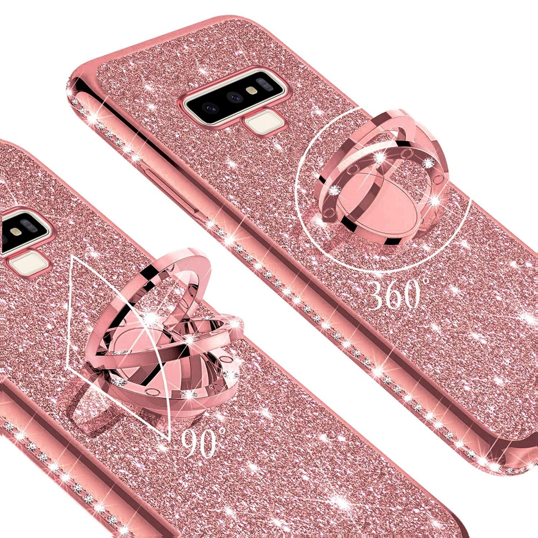 Case for Galaxy Note 9 Glitter Case,Sparkly Glitter Bling Diamond Rhinestone Bumper with Ring Kickstand Flexible Soft Rubber TPU Protective Case Cover for Galaxy Note 9 Case for Girl Women,Rose Gold