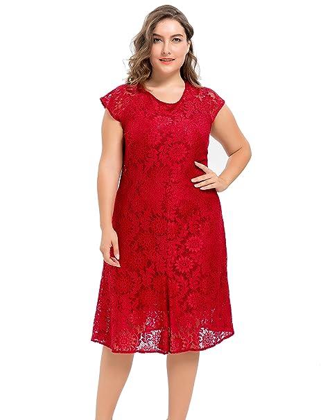 Chicwe Vestidos Tallas Grandes Mujeres Forrado Elástico Encaje Vestido de Falda Rojo 4X