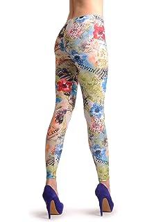 b4c2e94f69e6a Happy Hippie Flowers - Multicoloured Designer Leggings: Amazon.co.uk ...