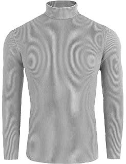 FISOUL Homme Pulls Coton Chandails Col Roulé Uni Sweater Slim Fit Manches  Longues Casual 2f8c18672267