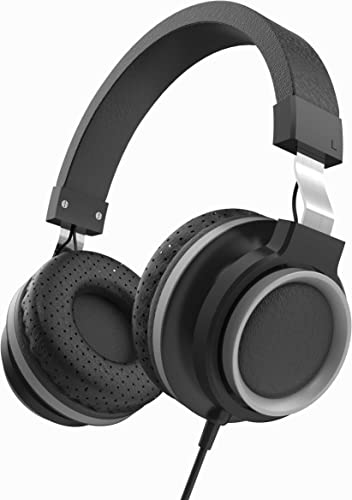 LORELEI K-30 Wired Headphones with Microphone Over Headphones Folding Lightweight Headset for Cellphones Tablets iPad Smartphones Laptop Computer PC Mp3 4 Black