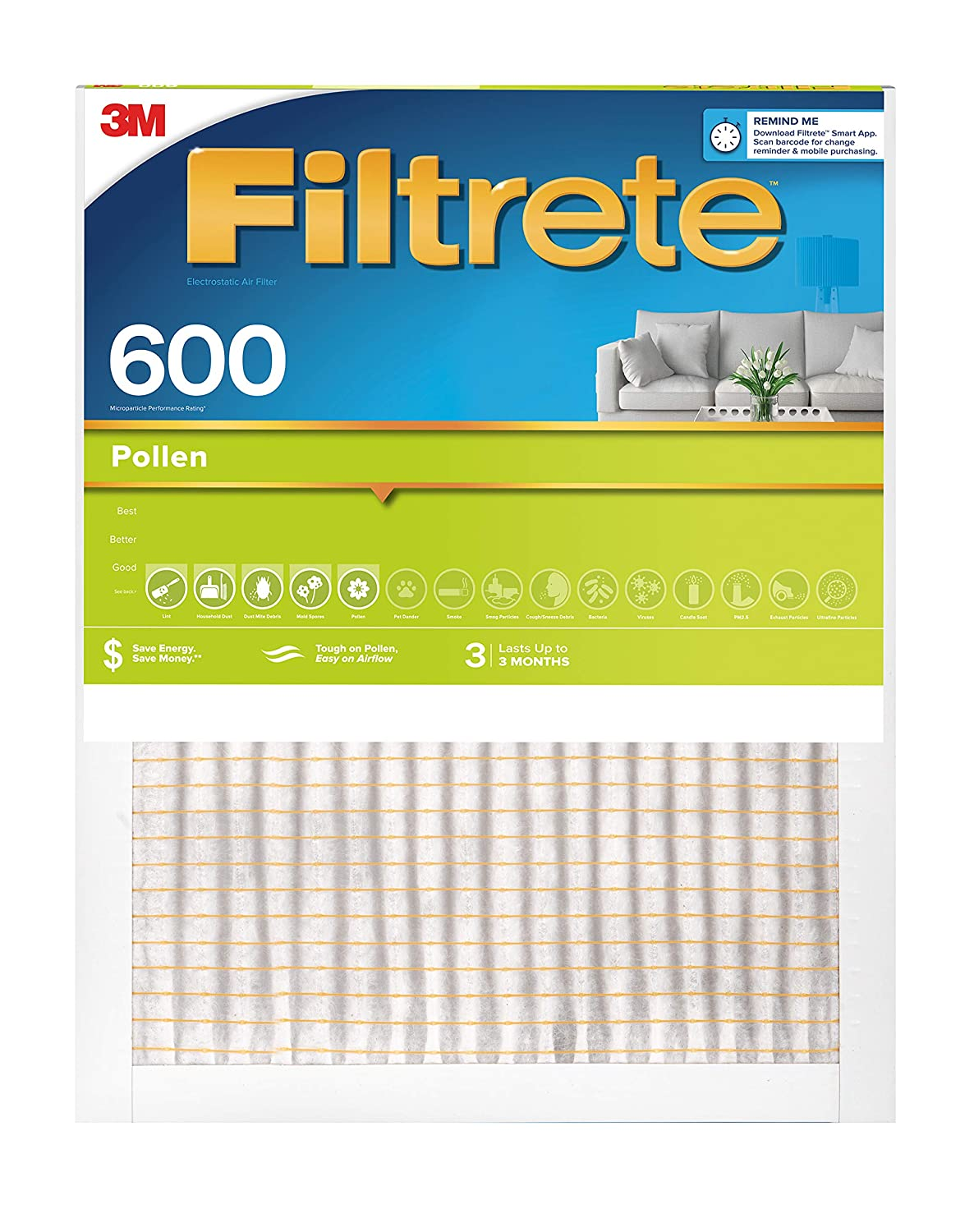 Filtrete 9891DC-6 16x24x1, AC Furnace Air Filter, MPR 600, Clean Living Dust Reduction, 6-Pack, White, 16 x 24 x 1