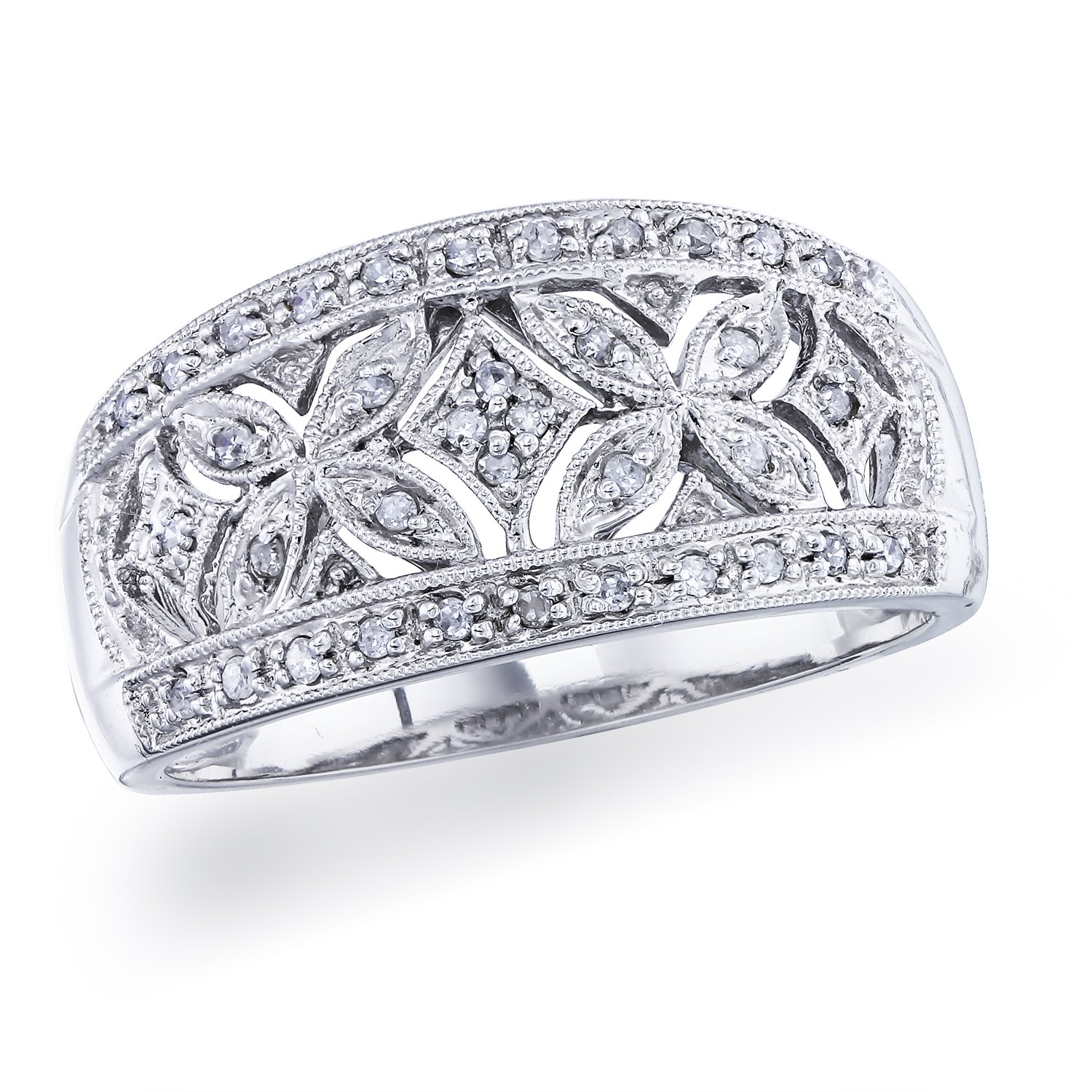 Diamond Vintage Band in Sterling Silver (0.14 carats, H-I I1)