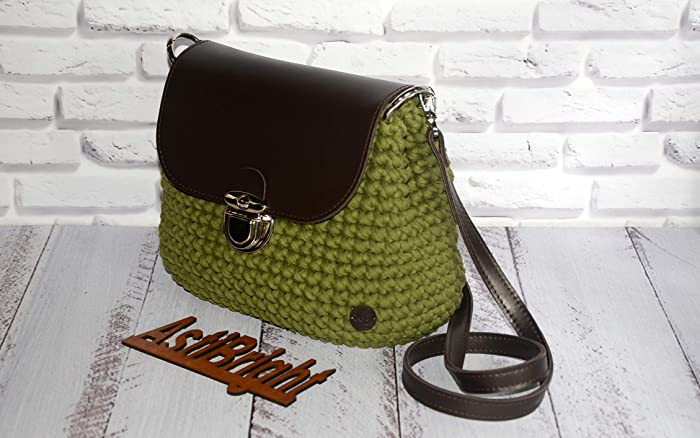 d8bc1da0286 Amazon.com: Khaki crochet bag, Tshirt yarn bag, Crossbody crochet bag,  Shoulder bag, Brown flap bag, Crochet purse, Knitted bag, Trendy crochet bag:  ...