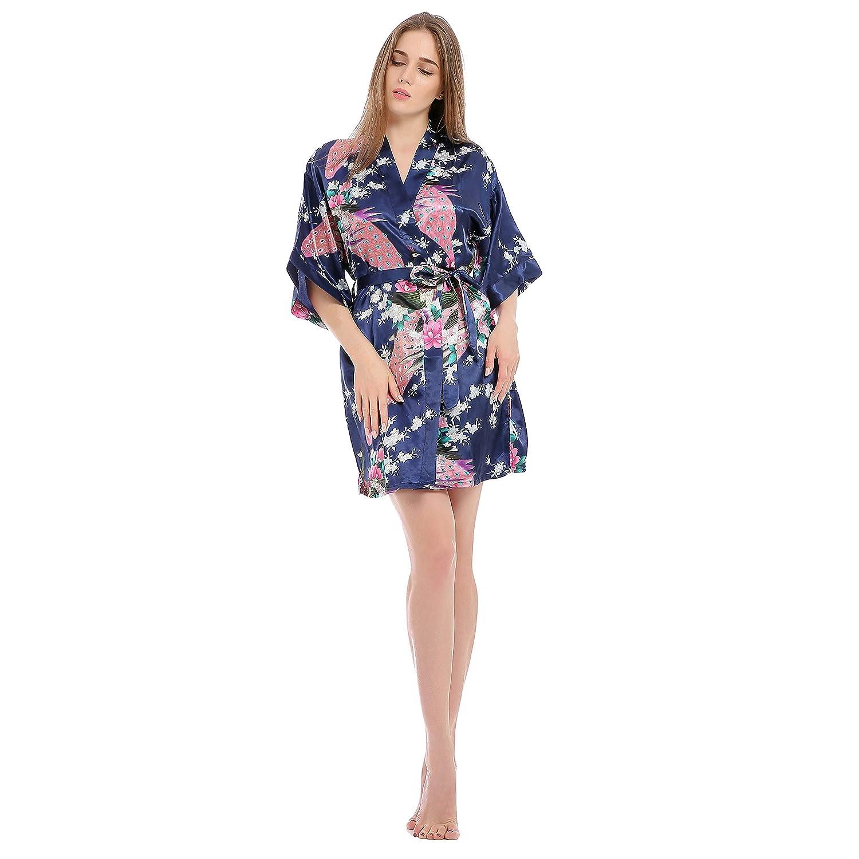 Kimono Mujer Batas, Bata de Satén Estampado Floral Vestido Kimono Ropa de Dormir 3/4 Manga con Cinturón Pijama Albornoz: Amazon.es: Ropa y accesorios