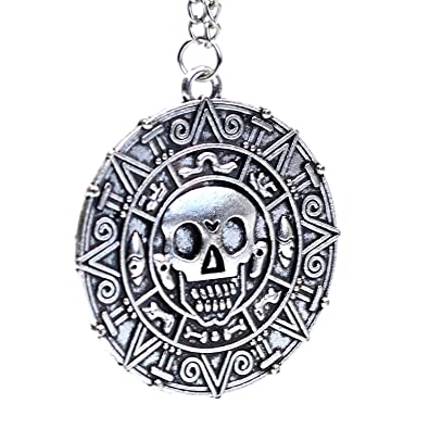 Bronze Pirates of the Caribbean Aztec Coin Medallion Skull Charm Fancy Dress Necklace In Gift Box PPfVqaGjI